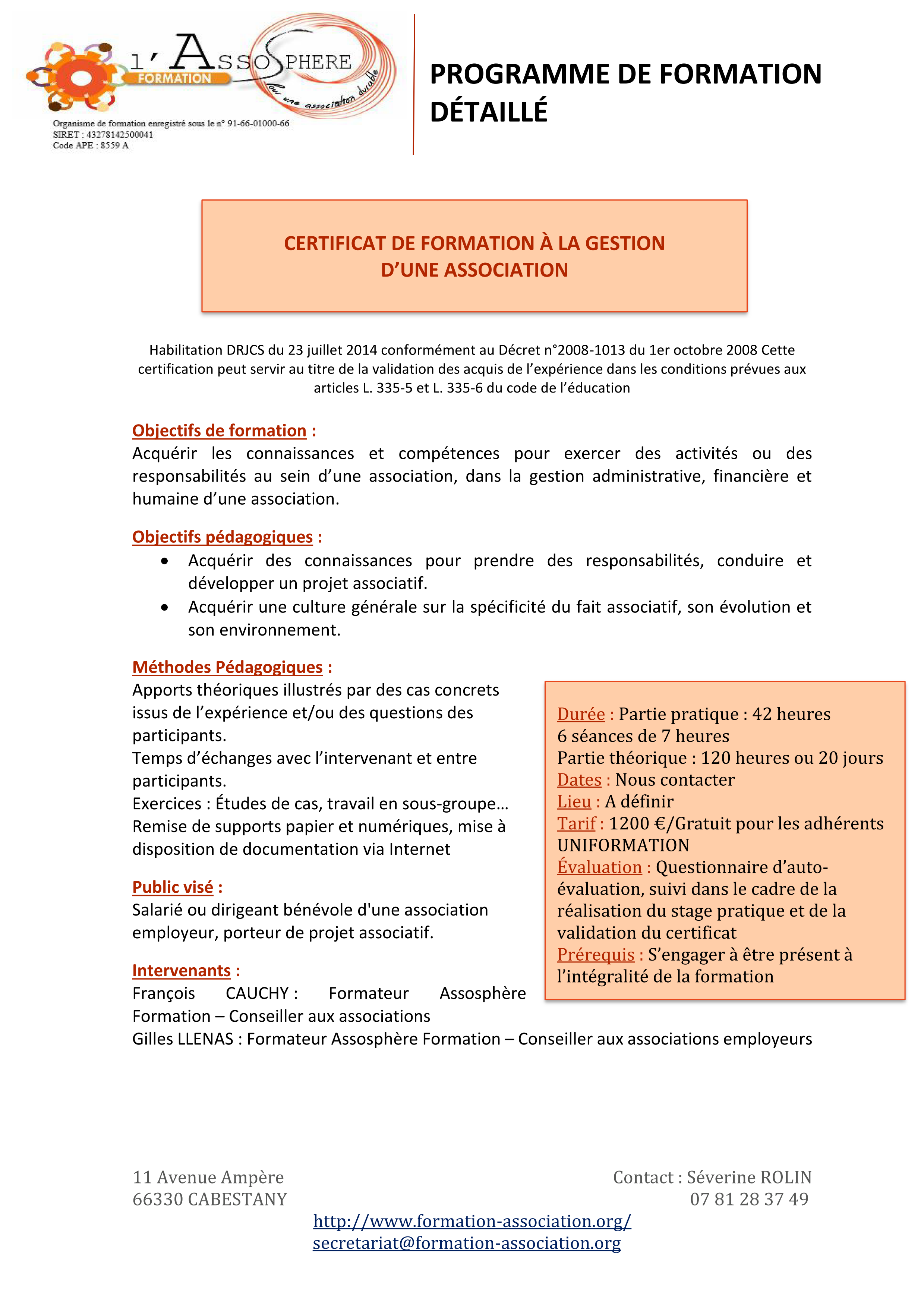 Programme détaillé CFGA