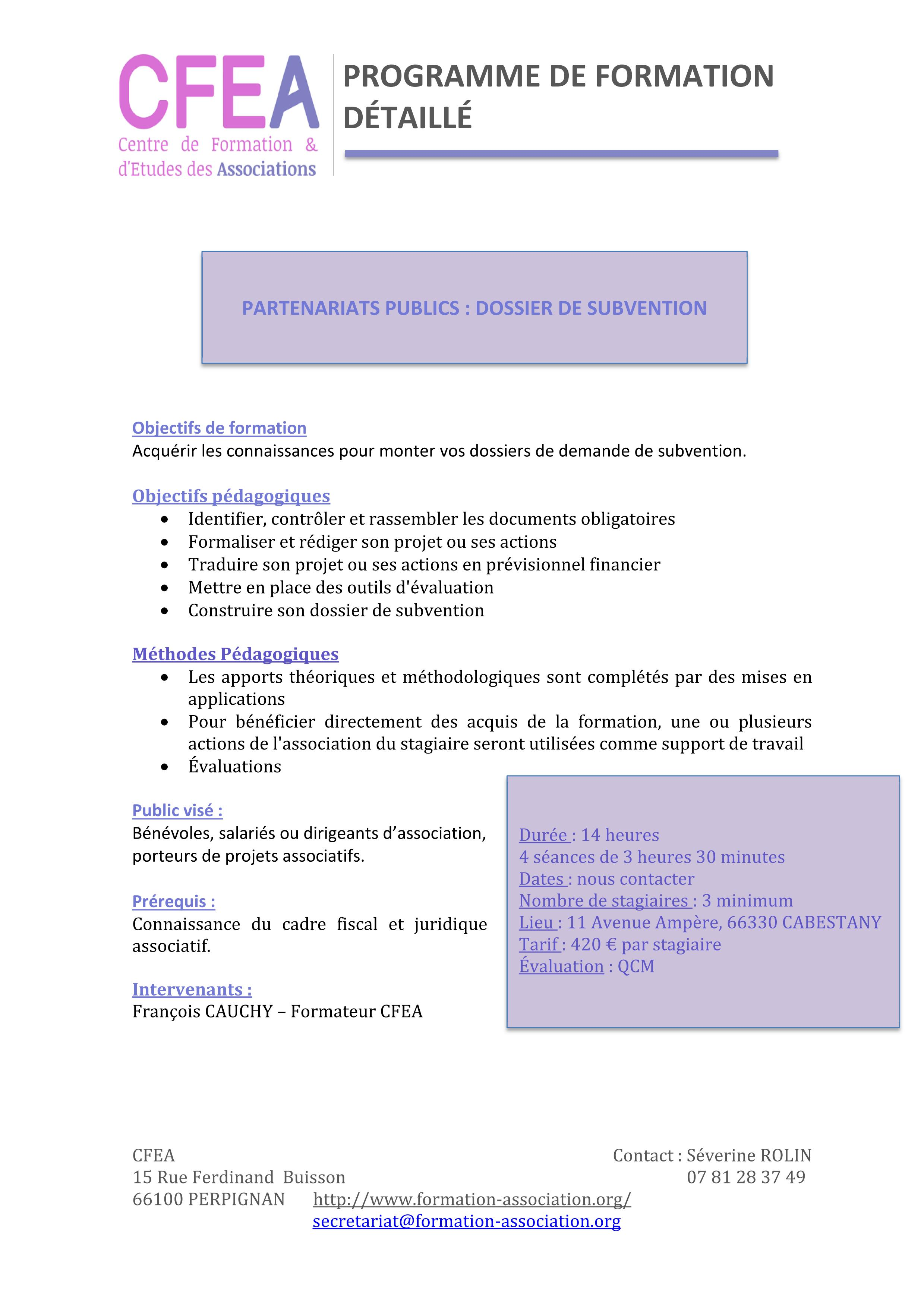 Programme Formation dossier de subvention