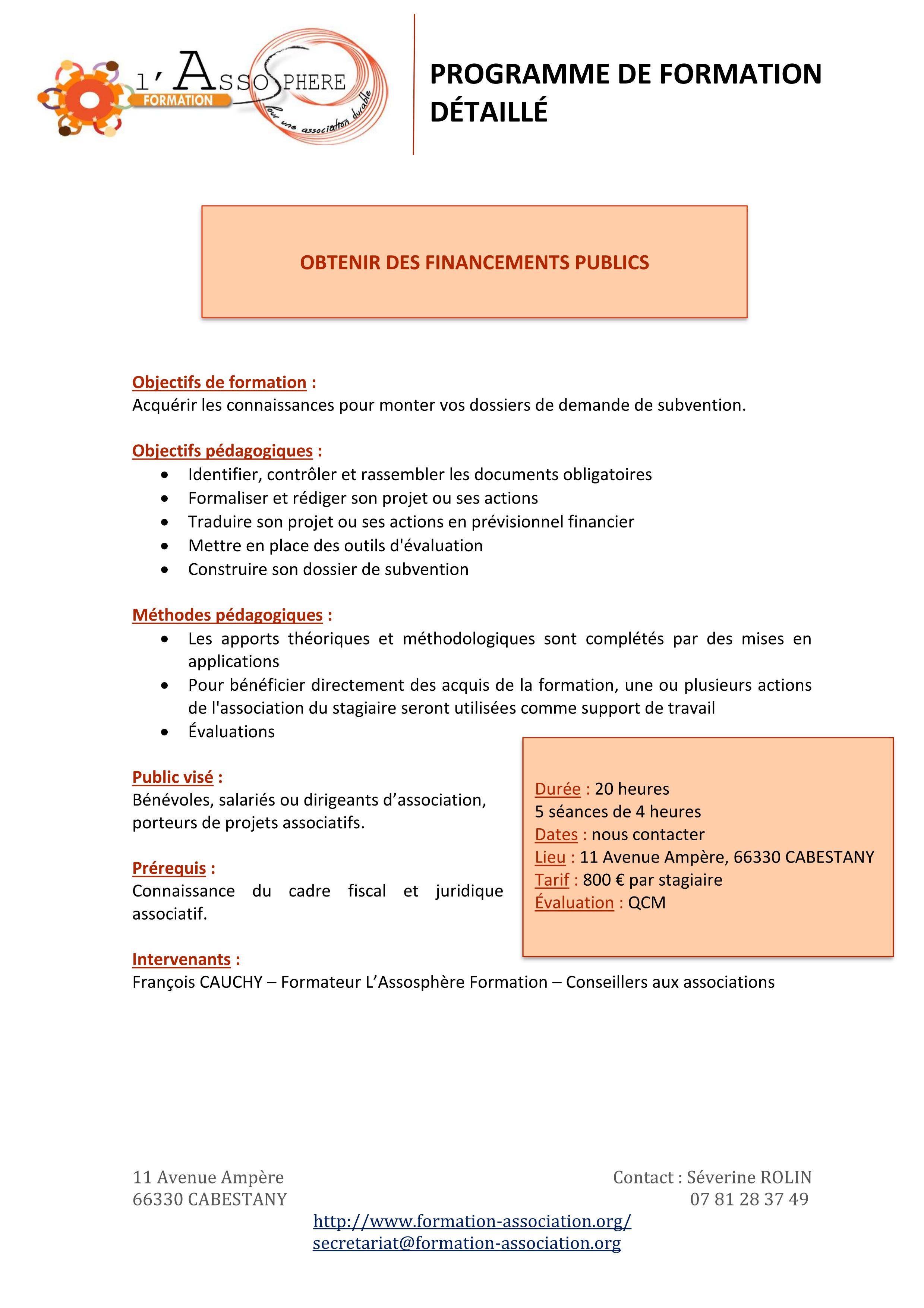 Programme formation Obtenir des financements publics
